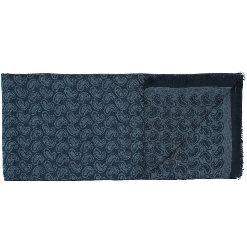 Navy With Grey Paisley Scarf - Gagliardi