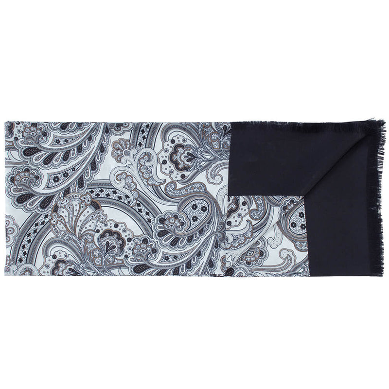 Black And White Large Paisley Print Scarf