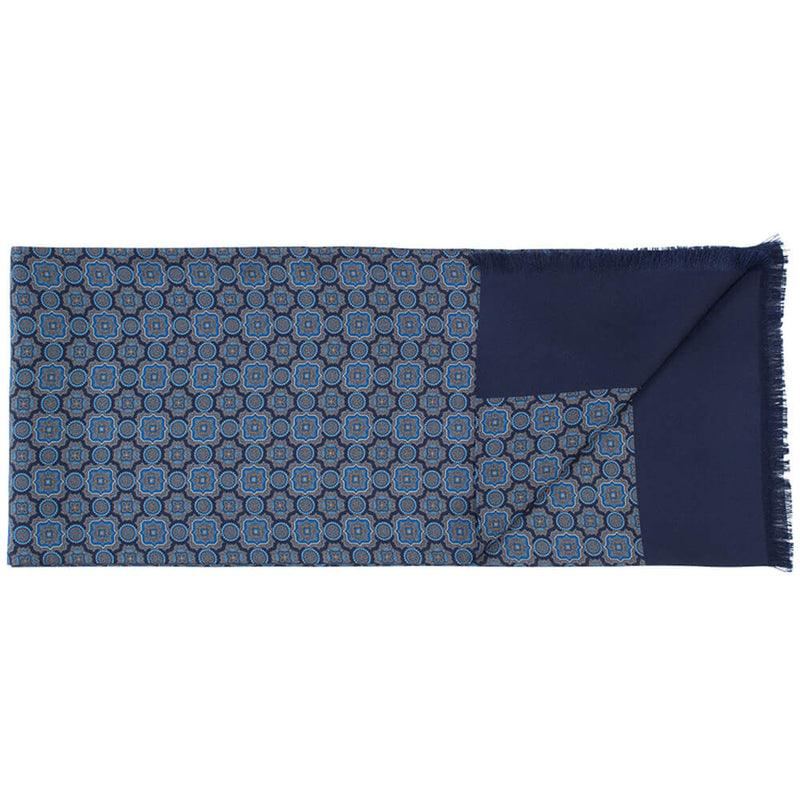 Navy With Blue Mosaic Print Scarf