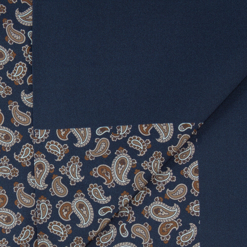 Navy With Beige Paisley Print Scarf