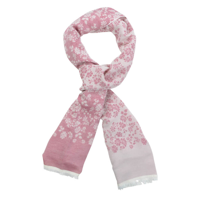 Raspberry With Cream Flowers Scarve - Gagliardi