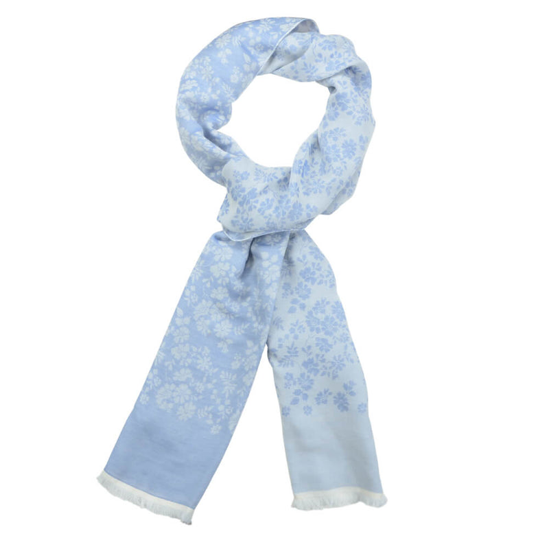 Light Blue With White Flowers Scarve - Gagliardi
