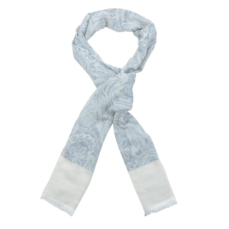 Blue With Ivory Large Floral Design Scarf - Gagliardi