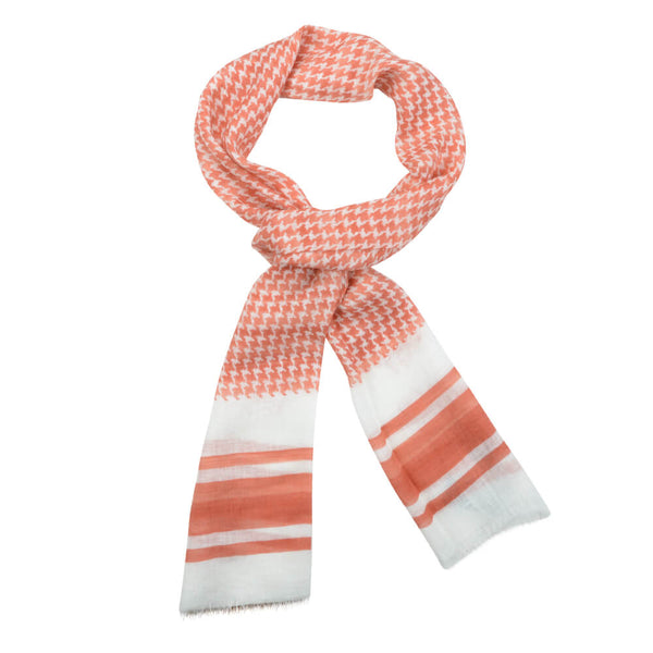 Orange And White Large Dogstooth Scarve - Gagliardi