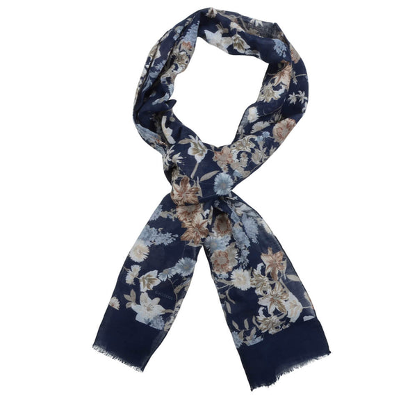 Navy With Cream And Grey Flowers Scarve - Gagliardi