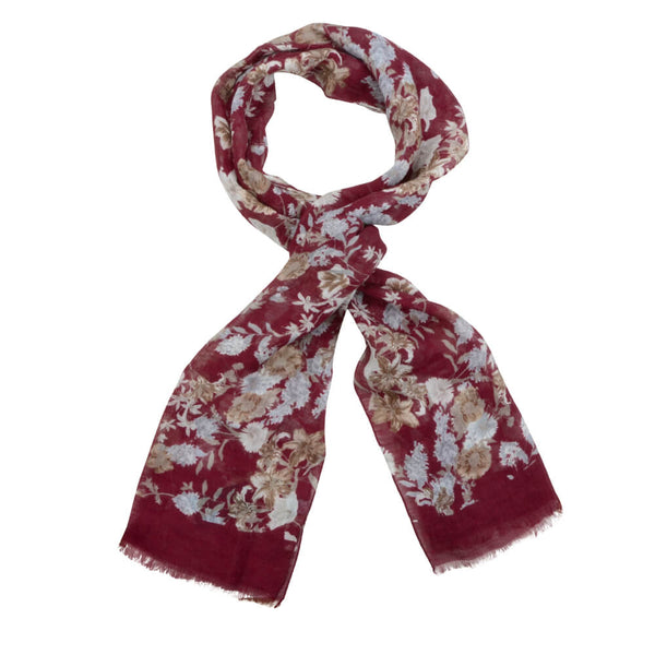 Raspberry With Cream And Grey Flowers Scarve - Gagliardi