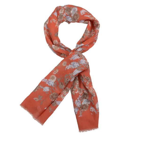 Orange With Cream And Grey Flowers Scarve - Gagliardi
