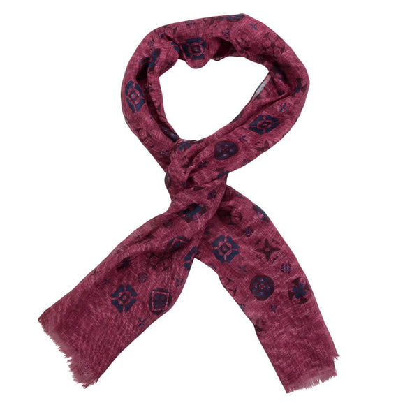 Raspberry With Large Navy Medallion Scarve - Gagliardi