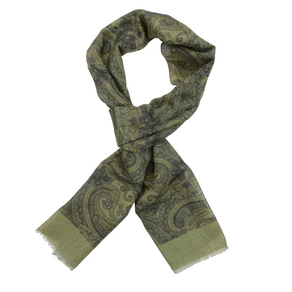 Green With Large Paisley Design Scarve - Gagliardi