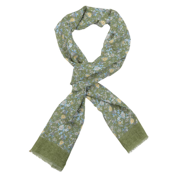 Green With Yellow And Taupe Flowers Scarve - Gagliardi