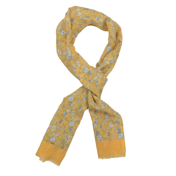 Yellow With Light Blue And Taupe Flowers Scarve - Gagliardi