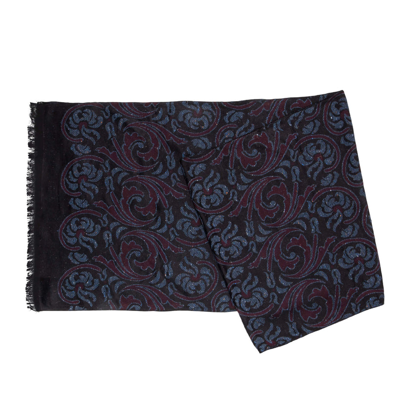 Black With Blue And Raspberry Flowers Scarf