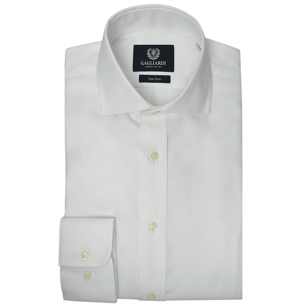 White Twill Cutaway Collar Single Cuffed Slim-Fit Non-Iron Shirt - Gagliardi