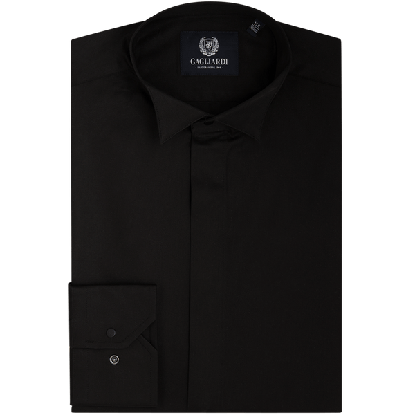 Black Mercerised Plain Slim Fit Traditional Wing Collar Shirt - Gagliardi
