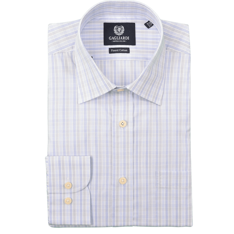 Grey & Blue Multi Check Business Shirt