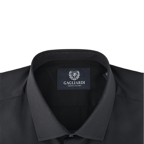 Black Mercerised Plain With Charcoal Diamond Jacquard Trim Slim Fit Dress Shirt - Gagliardi