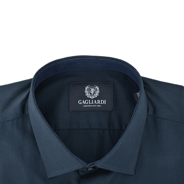 Navy Mercerised Plain With Navy & Royal Blue Jacquard Trims & Fly Front Placket Dress Shirt - Gagliardi