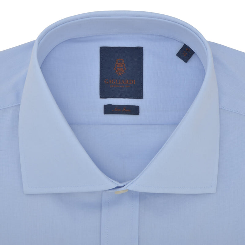 Slim Fit Sky Poplin Cutaway Collar Non-iron Shirt - Gagliardi