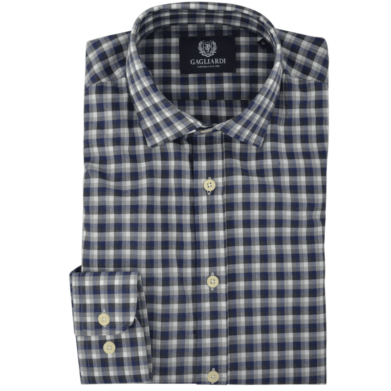 Charcoal Grey & Navy Melange Check Warm Handle Finish Casual Shirt
