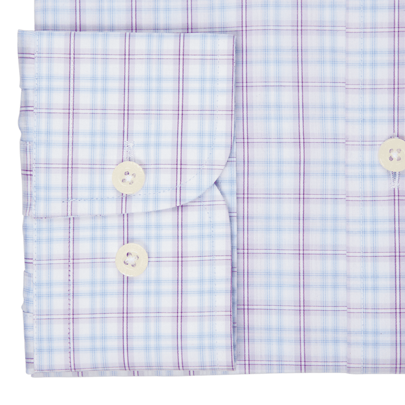 Sky & Purple Large Overcheck Business Shirt