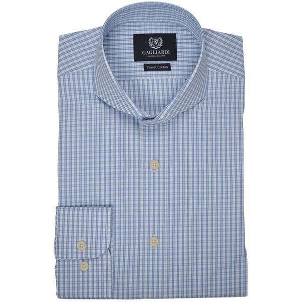 White with Skye Blue Oxford Check Business Shirt - Gagliardi