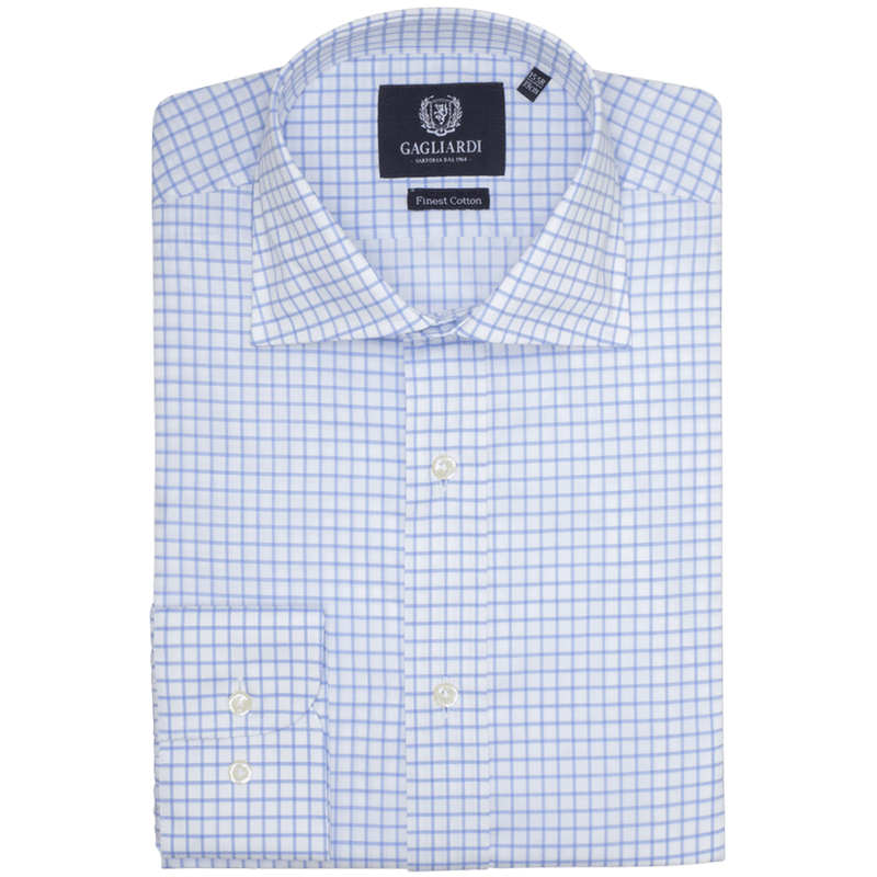 Sky Checked Slim Fit Cutaway Collar Shirt