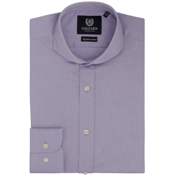 Purple Oxford Slim Fit Extreme Cutaway Shirt - Gagliardi