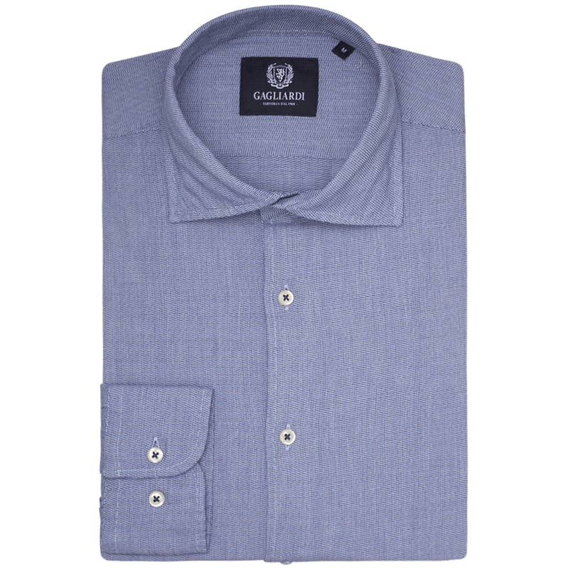 Navy Chevron Slim Fit Cutaway Collar Shirt - Gagliardi