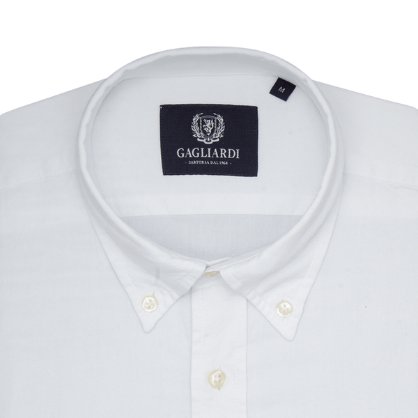 White Oxford Slim Fit Buttondown Collar Shirt - Gagliardi