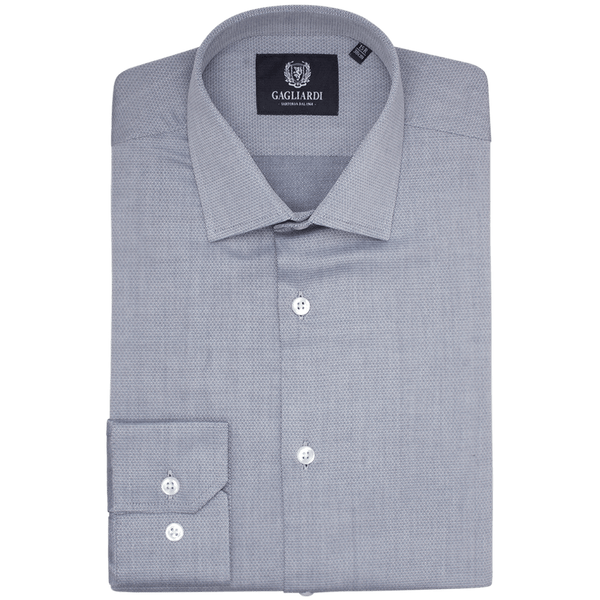 Navy Diamond Weave Slim Fit Classic Collar Shirt - Gagliardi