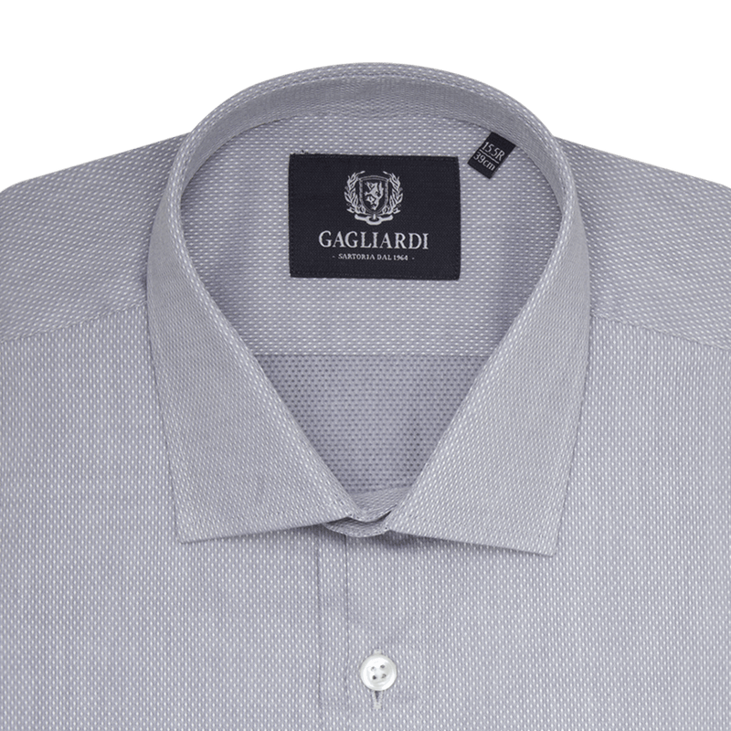 Grey With White Diamond Weave Slim Fit Classic Collar Shirt