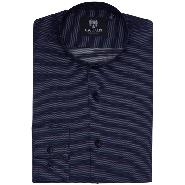 Navy With White Micro Structure Jacquard Slim Fit Tunic Shirt - Gagliardi
