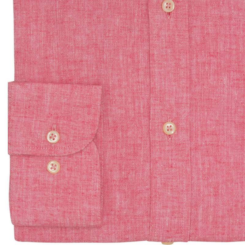 Rasberry Plain Slim Fit Long Sleeve Cutaway Collar Linen Shirt - Gagliardi