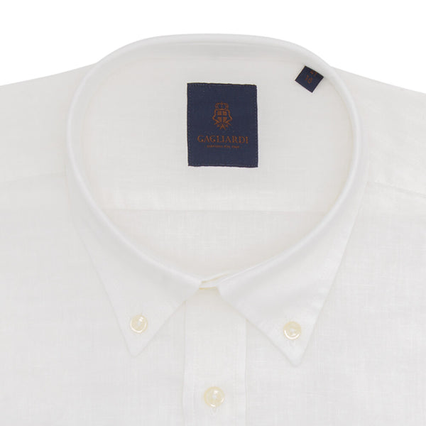 White Plain Slim Fit Long Sleeve Buttondown Collar Linen Shirt - Gagliardi