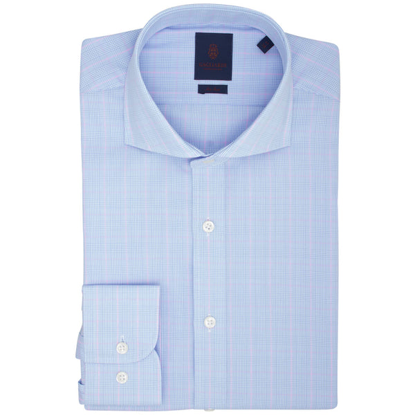 Sky With Pink Overcheck Slim Fit Long Sleeve Extreme Cutaway Collar Shirt - Gagliardi