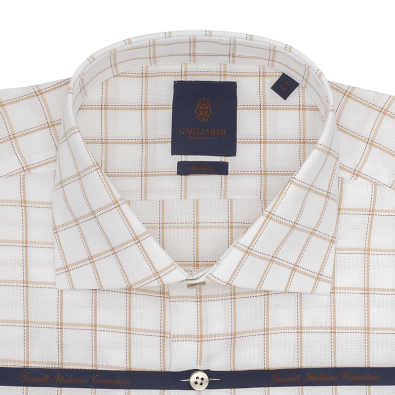 White With Camel Overcheck Slim Fit Long Sleeve Grown On Placket Cutaway Collar Shirt - Gagliardi