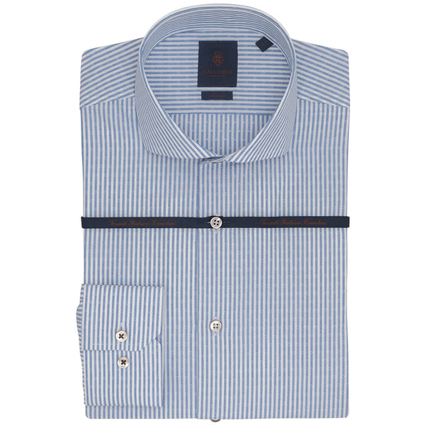 Royal Blue Stripe With Dot Slim Fit Long Sleeve Grown On Placket Extreme Cutaway Collar Shirt - Gagliardi