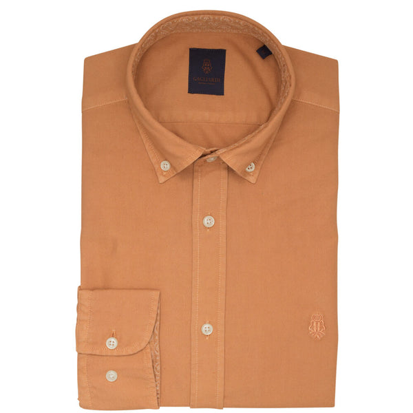 Orange Oxford Garment Dye Slim Fit Shirt - Gagliardi
