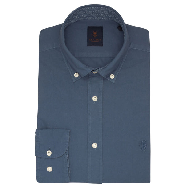 Ice Blue Oxford Garment Dye Slim Fit Shirt - Gagliardi