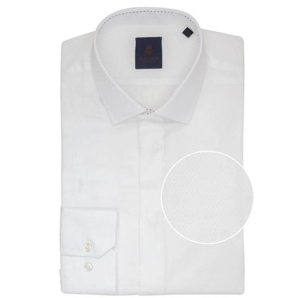 White Box Weave Jacquard Slim Fit Shirt