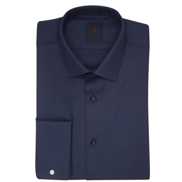 Navy Box Jacquard Slim Fit Shirt