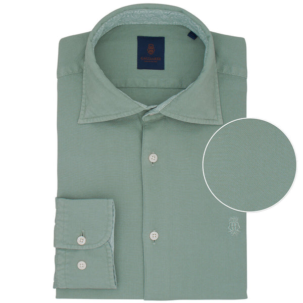 Slim Fit Green Cotton Shirt - Gagliardi