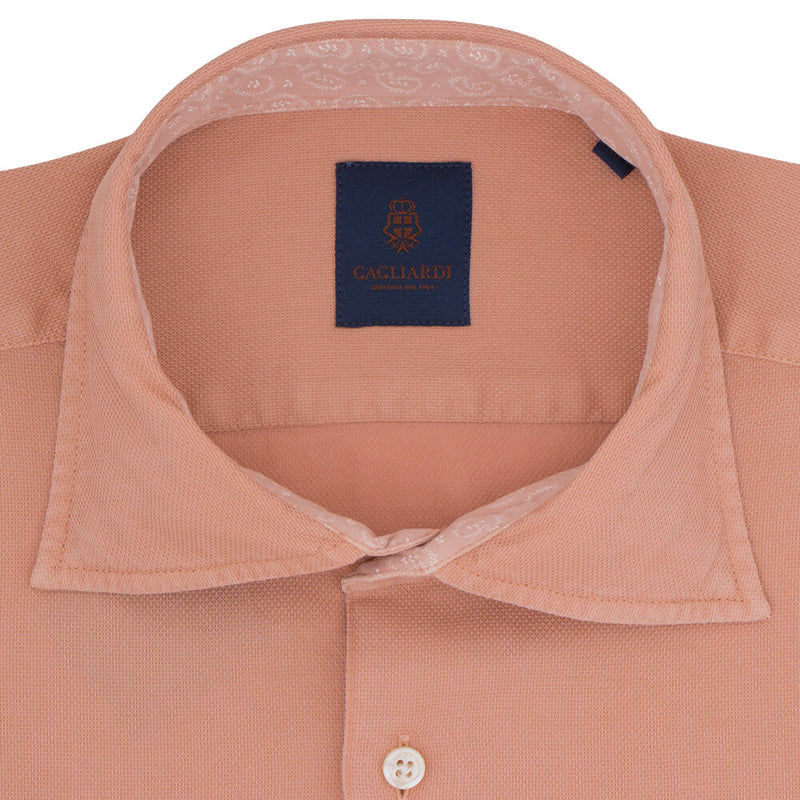 Slim Fit Orange Cotton Shirt - Gagliardi