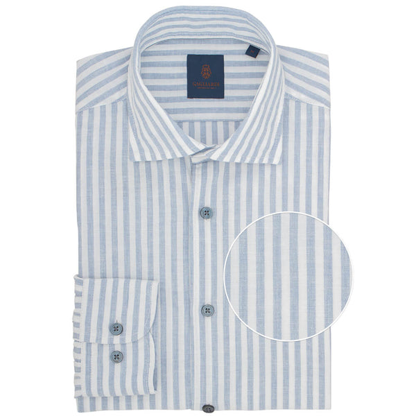 Slim Fit Blue Butcher Stripe Linen Shirt - Gagliardi