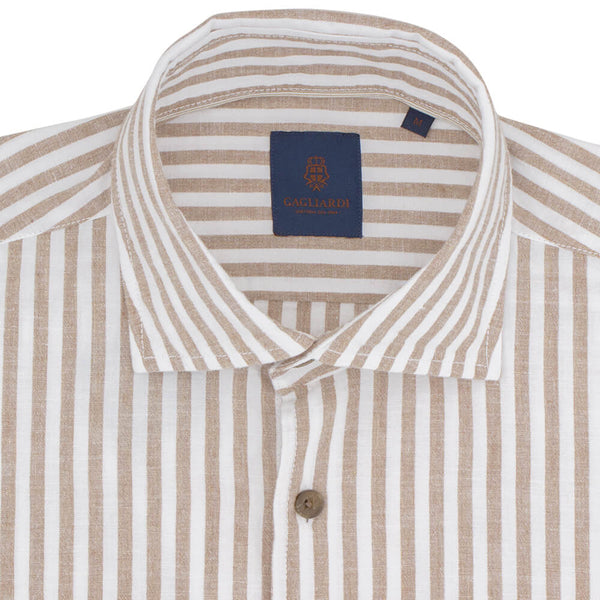 Slim Fit Tan Butcher Stripe Shirt - Gagliardi