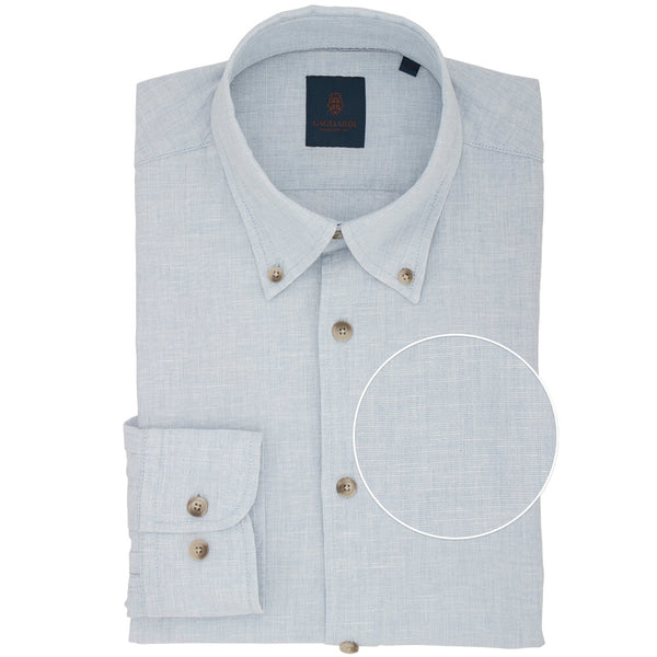 Slim Fit Sky Blue Button Down Linen Shirt - Gagliardi