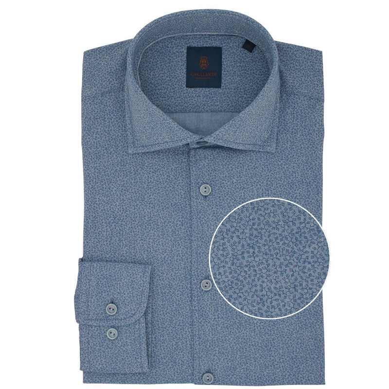 Slim Fit Denim Blue Abstract Cotton Shirt