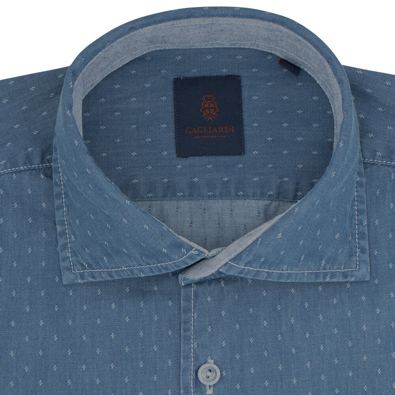 Slim Fit Blue Diamond Dobby Cotton Shirt