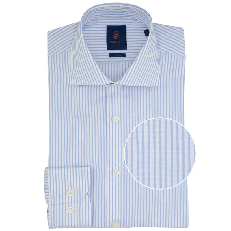 Slim Fit Sky Bengal Stripe Non Iron Oxford Cotton Shirt - Gagliardi