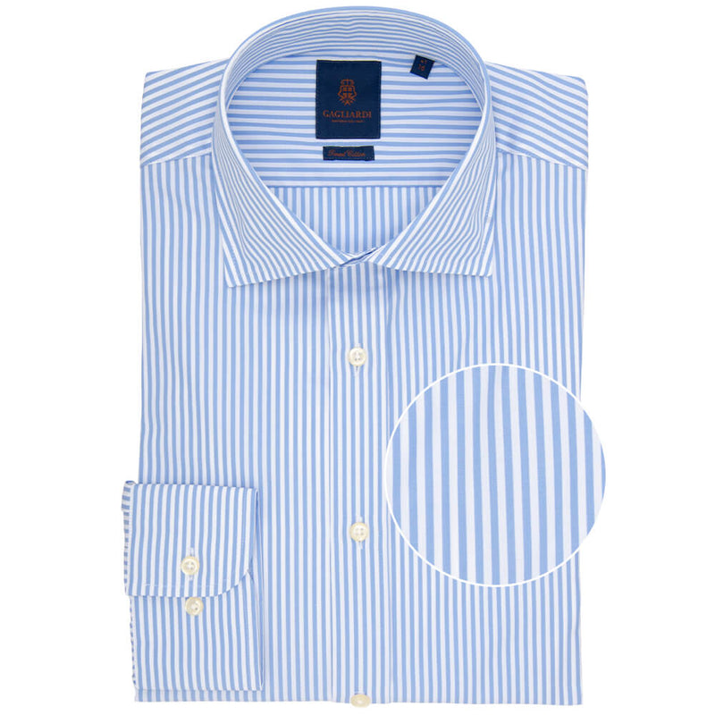 Slim Fit Sky Bengal Stripe Poplin Cotton Shirt - Gagliardi